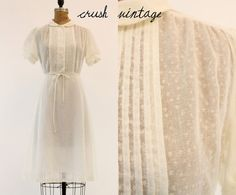1950s Sheer Cotton Dress M / 50s Puffed Sleeves by CrushVintage, $62.00
