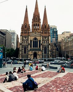 Federation Square looking across to St Pauls Anglican Cathedral, Melbourne, Australia
