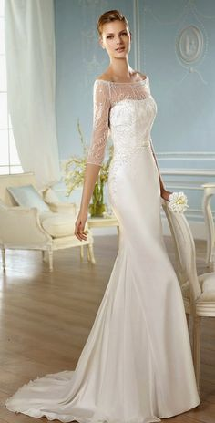 San Patrick 2014 Bridal Collection - Belle The Magazine Wedding Robe, Amazing Wedding Dress, Stunning Wedding Dresses, Wedding Dress Chiffon, Wedding Dresses 2014, Classic Wedding Dress, Wedding Attire, Beautiful Gowns, Bridal Dresses