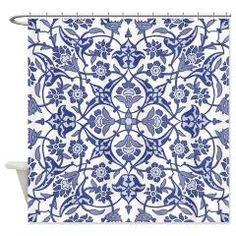 Indigo Blue Vintage flora design Shower Curtain