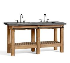Abbott Double Sink Console #potterybarn waxed pine, concrete top square white ceramic sink