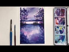 Watercolor Landscape Paintings, Watercolor Artwork, Easy Watercolor, Watercolour Tutorials, Step By Step Painting, Easy Paintings, Diy Painting, Recherche Google, Simple