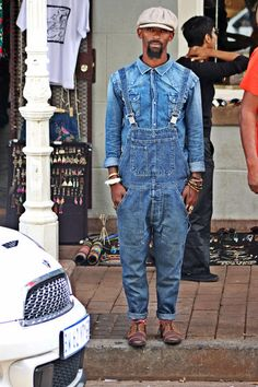 A blue denim shirt and dungarees are a perfect combination to be utilised at the weekend. Play down the casualness of your look with brown leather oxford shoes. Rest assured, this ensemble is the best way to beat gloomy autumn days. Men's Dungarees, Denim Overalls, Blue Denim Shirt, Double Denim, Gentleman Style, My Guy, Vintage Denim, African Fashion, Work Wear
