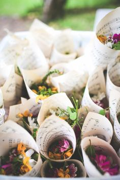 Wildflower petals make gorgeous confetti and look beautiful presented in sheet music paper cones - just choose appropriate Regency era music for an extra dash of authenticity. Jane Austen wedding inspiration.