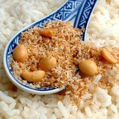 Dutch/Indonesian - Seroendeng. Toasted coconut and peanuts, served here over rice.