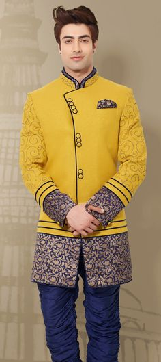 500044 Yellow color family IndoWestern Dress in Khadi fabric with Machine Embroidery, Border, Lace work. Indian Wedding Outfits, Indian Outfits, Indian Weddings, Indian Groom Wear, Indian Wear, Indian Men Fashion, India Fashion, Men's Fashion, Man Dress Design