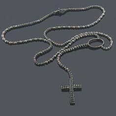 #BlackDiamonds #blackdiamondgem #blackjewelry-ad Black Rhodium 10K Black Diamond Rosary Chain Neckl�