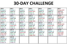 30 day challenge- Push Ups, Squats, Sit Ups, Lunges