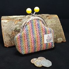 Rainbow, striped HARRIS TWEED Coin purse £18.00 Harris Tweed, Rainbow Colors, All The Colors, Unique Gifts, Hand Weaving, Coins, Coin Purse, Handmade Items, Colours