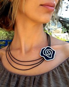 rose vintage black genuine leather necklace statement, vintage style, stranded necklace gift for her charm for any occasion cocktail