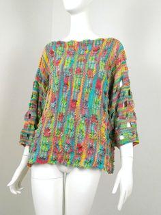 Pull fantaisie tricoté main en coton pur Bell Sleeves, Bell Sleeve Top, Pli, Blouse, Tops, Fashion, Fantasy, Cotton, Moda