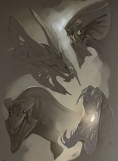 Sketch Heads by beastofoblivion on deviantART dragon alien monster heads