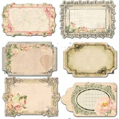 Flower labels and tags with beautiful borders