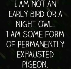 """I am not an early bird or night owl. I am some form of permanently exhausted pigeon."""