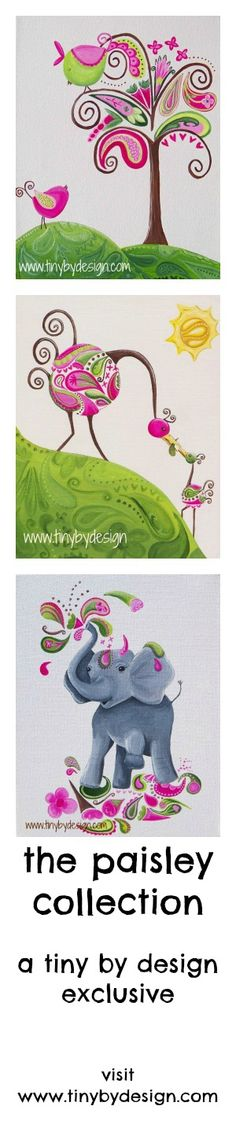 the paisley trio.  a tiny by design exclusive.  available in original and print.  www.tinybydesign.com #paisley #art_print, # prints #girls rooms