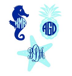 Starfish Seahorse Pineapple Monogram Decal by cestlaviedesignss