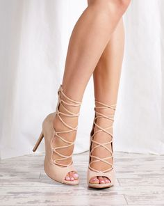 Style name: Sexy Addiction | Lola Shoetique | Nude Heels | Lace Up Heels | Summer | Fashion