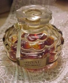 "Antique vintage miniature perfume scent bottle, ""Orval"" by Molinard. 2"" high and 2.25"" wide."