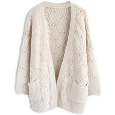 Chicwish Cozy of My Life Open Front Knit Cardigan in Cream ($60) ❤ liked on Polyvore featuring tops, cardigans, white, cream cardigan, knit cardigan, open front cardigan, cream top and white top