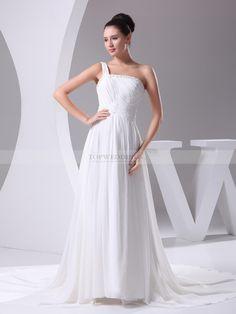 Rania - robe de mariée a-ligne traîne moyenne en mousseline polyester avec perlage