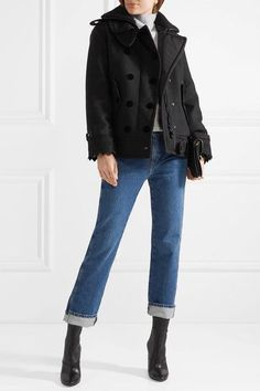 MONCLER stylish Clarissa wool-blend twill and quilted shell jacket Matthew  Williamson, Black Wool c6ac233316c