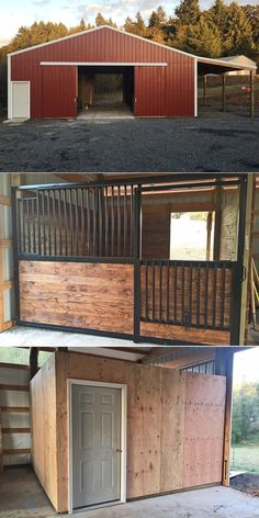 36 x 36 x 12 horse barn with 12 x 36 lean-too, stalls and tack room. Metal Horse Barns, Horse Barn Plans, Simple Horse Barns, Cattle Barn, Farm Barn, Barn Stalls, Horse Stalls, Rinder Stall, Horse Tack Rooms