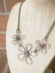Flower Necklace. Copper. Bib. Textured. by Karismabykarajewelry