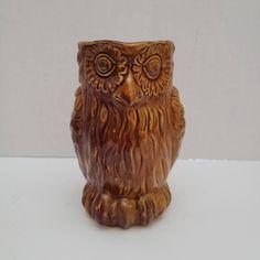 Vintage Ceramic Small Owl Pitcher Made in Italy B Altman Owl Kitchen Decor, Small Owl, Ceramic Pitcher, Vintage Ceramic, Italy, Etsy Shop, Ceramics, Brown, Art