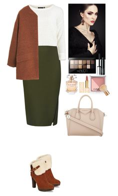 """""""Outfit"""" by eliza-redkina ❤ liked on Polyvore featuring M&S Collection, UGG Australia, MANGO, Maybelline, Clinique, Givenchy, H&M, Tory Burch, Elie Saab and StreetStyle"""