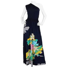 Preowned 1970s Unlabelled Mac Tac Printed One Shoulder Navy Dress ($425) ❤ liked on Polyvore featuring dresses, blue, maxi dresses, floral print dress, floral print maxi dress, blue maxi dress, blue floral dress and navy maxi dress