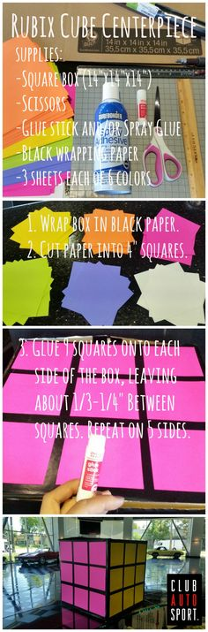 "Want to make totally awesome 80's decorations? Here's a simple step-by-step DIY project to make cute and colorful Rubix cubes for your 80's theme party. SUPPLIES: a) square box (14"" square), b) scissors and/or paper cutter, c) glue stick and/or spray glue, d) black wrapping paper, and e) 3 sheets each of 6 colored paper. STEPS: 1. Wrap the box in black paper. 2. Cut the colored paper into 4"" squares. 3. Glue 9 squares onto each side of the box, leaving 1/3-1/4"" between squares. Done!"