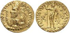 Kushan Empire   AV Dinar ND Vima Kadphises 166-230AD  obv. King rev. God Oesho My coll.