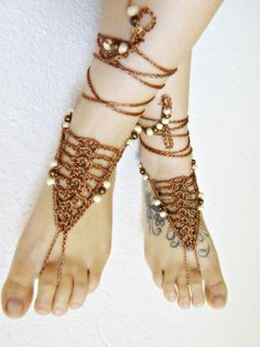 Rusty BAREFOOT sandles barefoot sandal hippie barefoot CROCHET hippie SUMMER sexy anklet jewelry foot thongs bottomless shoes by ZAPrix