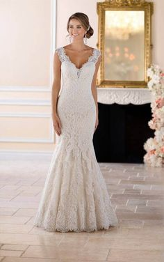 5ee6e747bc 6418 Vintage Lace Trumpet Wedding Dress by Stella York. Trumpet with  sweetheart neck and dropped