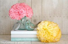 DIY // The Crafted Sparrow: Coffee Filter Peonies Flowers // and nice paper books! Coffee Filter Crafts, Coffee Filter Flowers, Coffee Filters, Handmade Flowers, Diy Flowers, Paper Flowers, Fresh Flowers, Flower Diy, Faux Flowers