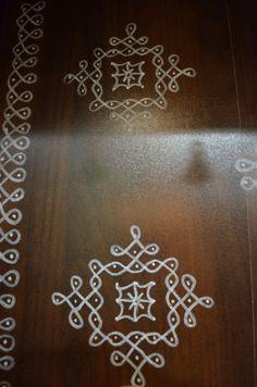 That little corner where God resides…. – The Experimental Baker HomeMaker Simple Rangoli Border Designs, Rangoli Borders, Free Hand Rangoli Design, Small Rangoli Design, Rangoli Patterns, Rangoli Ideas, Rangoli Designs Diwali, Rangoli Designs With Dots, Rangoli Designs Images