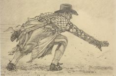 Bull Riding Drawings   Drawing Study for Bull Fighter #2   Patrick Douglass Cox     Masters ...