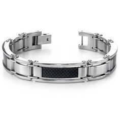 Men s Stainless Steel and Carbon Fiber Watch Link Bracelet