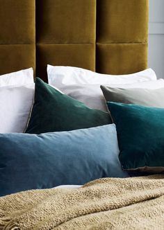 UPHOLSTERED BEDS/ Green stain resistant velvet cushions, in teal, green and grey. Smart and contemporary. love-your-home.co.uk