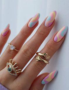 Summer Acrylic Nails, Pastel Nails, Cute Acrylic Nails, Spring Nails, Summer Nails, Cute Acrylic Nail Designs, Nail Art Designs, Shellac Nails, Nail Nail