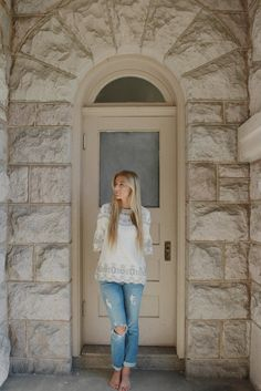 """White Bohemian style top with grey floral embroidered details :) Model is 5'7"""" and wearing a size Small. Top is 100% Rayon."""
