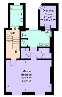 Bathroom closet and dressing room layout