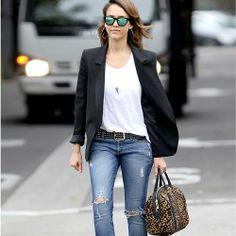distressed jeans + black blazer + t-shirt + leopard print bag