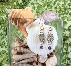 Delicate Sterling Silver and Amethyst Earrings  by DaisiesChain, $47.00