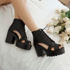Gothic Chunky High Heels Platform Hollow Out Sandal Womens Platform Lace Up Shoe