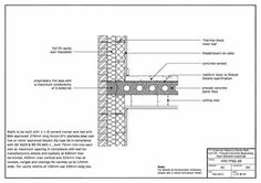 FF09-001-001. Detail drawing showing a full fill external masonry cavity wall with a precast concrete separating floor ...