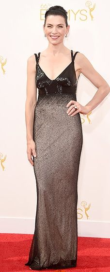 Julianna Margulies looked slim in a custom black crystal embroidered dress by Narciso Rodriguez at the 2014 Emmys.