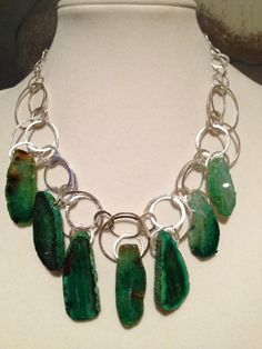 Statement Necklace Green Agate by ZancsJulz on Etsy