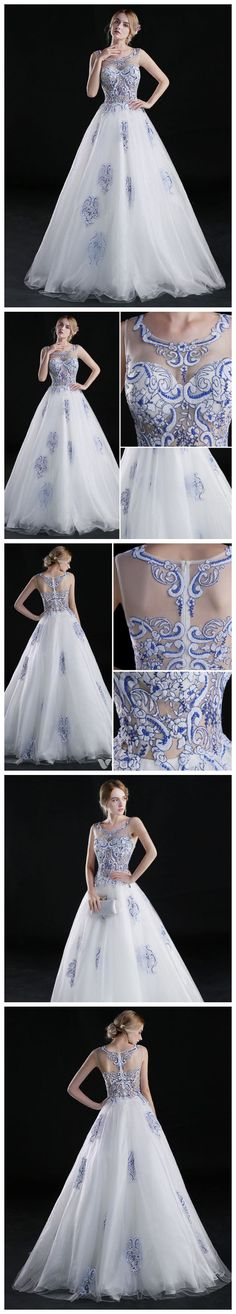 CHIC A-LINE SCOOP SLEEVELESS PROM DRESS BLUE TULLE PROM DRESS EVENING GOWNS AM272