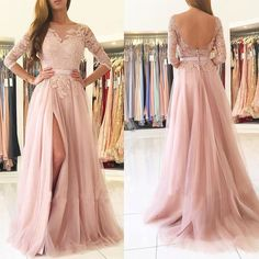 Long Sleeve Prom Dress, Backless Lace Prom Dress, Tulle Prom Dress, A- - Dairy Bridal Split Prom Dresses, Backless Prom Dresses, A Line Prom Dresses, Tulle Prom Dress, Tulle Lace, Evening Dresses, Dress Lace, Backless Wedding, Pink Tulle